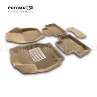 Текстильные 3D коврики Euromat3D Lux в салон для Volvo S 80 (2006-) № EM3D-005507T Бежевые