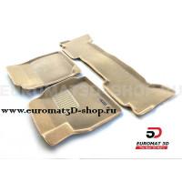 Текстильные 3D коврики Euromat3D Business в салон для Toyota Land Cruiser 100 (1998-2003) № EMC3D-005117T Бежевые