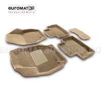 Текстильные 3D коврики Euromat3D Business в салон для Volvo S 80 (2006-) № EMC3D-005507T Бежевые