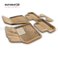 Текстильные 3D коврики Euromat3D Lux в салон для Audi Q5 (2008-2016) № EM3D-001104T Бежевые