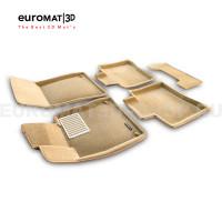 Текстильные 3D коврики Euromat3D Lux в салон для Mercedes S-Class (W222) (2013-2020) № EM3D-003515T Бежевые