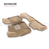 Текстильные 3D коврики Euromat3D Lux в салон для Toyota Land Cruiser 200 (2012-2021) № EM3D-005103T Бежевые