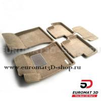 Текстильные 3D коврики Euromat3D Business в салон для Mercedes CLA-Class (C117) (2013-2018) № EMC3D-003516T Бежевые