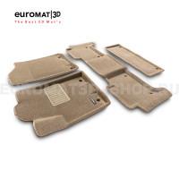 Текстильные 3D коврики Euromat3D Business в салон для Nissan Patrol (2010-) № EMC3D-002813T Бежевые
