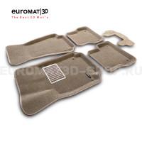 Текстильные 3D коврики Euromat3D Lux в салон для Audi A6 (2011-2018) № EM3D-001107T Бежевые