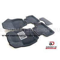 Текстильные 3D коврики Euromat3D Lux в салон для Volvo S 80 (2006-) № EM3D-005507G Серые
