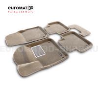 Текстильные 3D коврики Euromat3D Lux в салон для Porsche Cayenne (2018-) № EM3D-004106T Бежевые