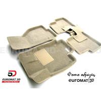 Текстильные 3D коврики Euromat3D Business в салон для Kia Sorento (2013-2019) № EMC3D-002919T Бежевые