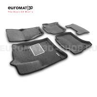 Текстильные 3D коврики Euromat3D Lux в салон для Volkswagen Touareg (2010-2017) № EM3D-004101G Серые