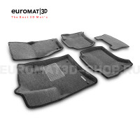 Текстильные 3D коврики Euromat3D Business в салон для Volkswagen Touareg (2010-2017) № EMC3D-004101G Серые