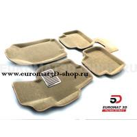 Текстильные 3D коврики Euromat3D Lux в салон для Honda Accord (2002-2007) № EM3D-002605T Бежевые