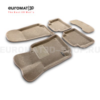Текстильные 3D коврики Euromat3D Business в салон для Mercedes CLS-Class (C257) (2018-) № EMC3D-003519T Бежевые