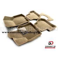 Текстильные 3D коврики Euromat3D Lux в салон для Seat Leon (2005-2012) № EM3D-004502T Бежевые