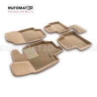 Текстильные 3D коврики Euromat3D Business в салон для Toyota Rav 4 (2019-) (АКПП) № EMC3D-005105T Бежевые